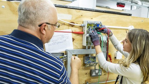 Electrical lesson at Andover College