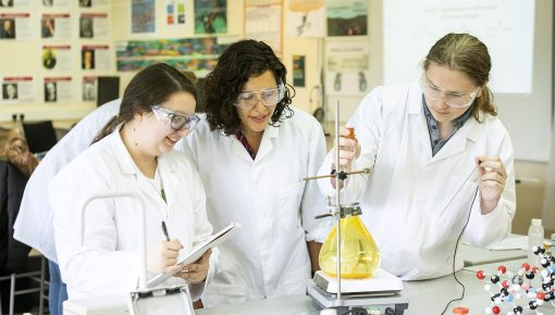 Science lesson at Andover College