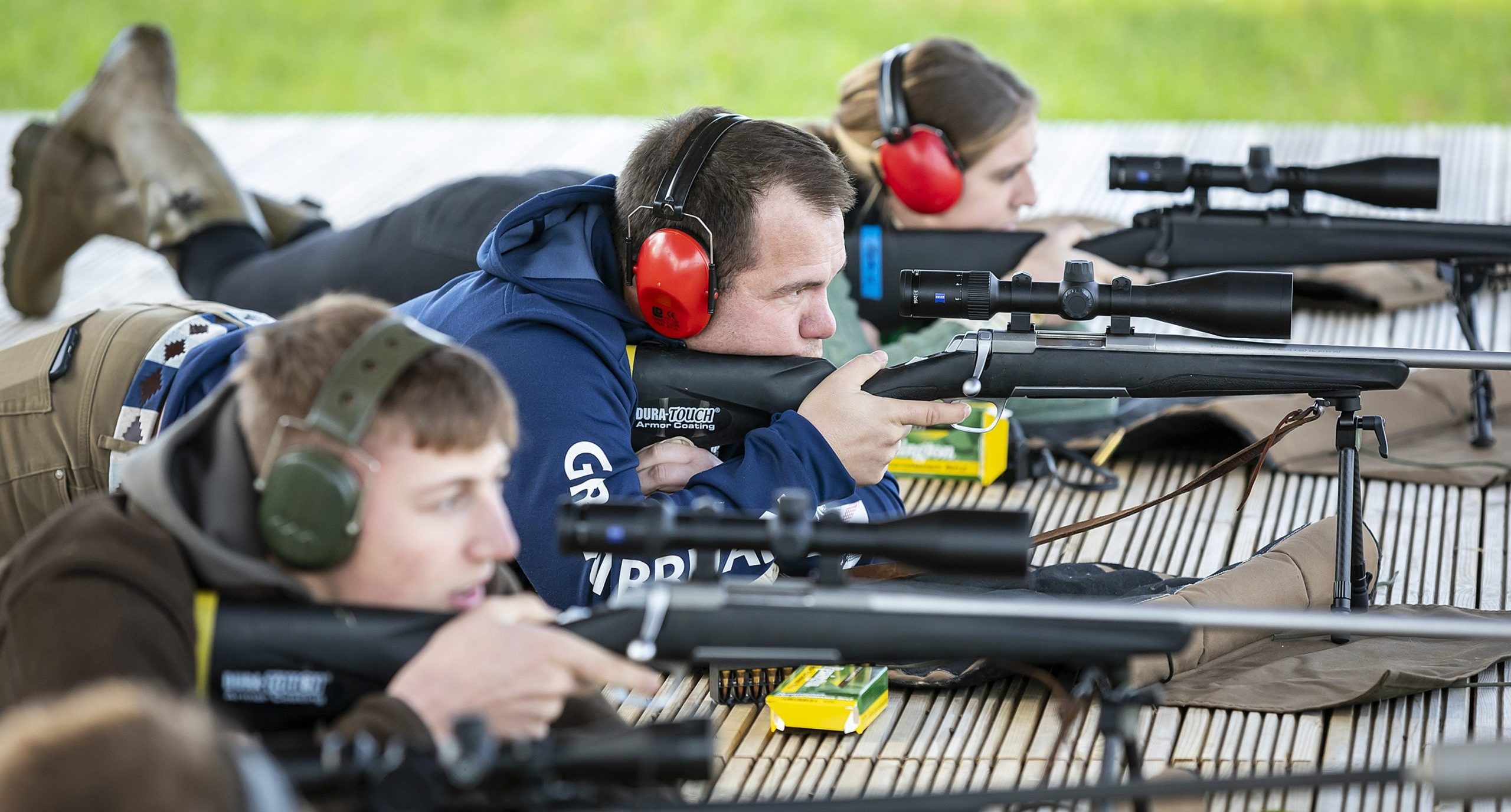 Game and Wildlife students using Sparsholt College's 100m Outdoor Rifle Range